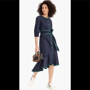 J. Crew Belted Poplin Dress